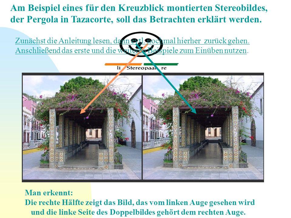 Am Beispiel eines für den Kreuzblick montierten Stereobildes, der Pergola in Tazacorte, soll das Betrachten erklärt werden.