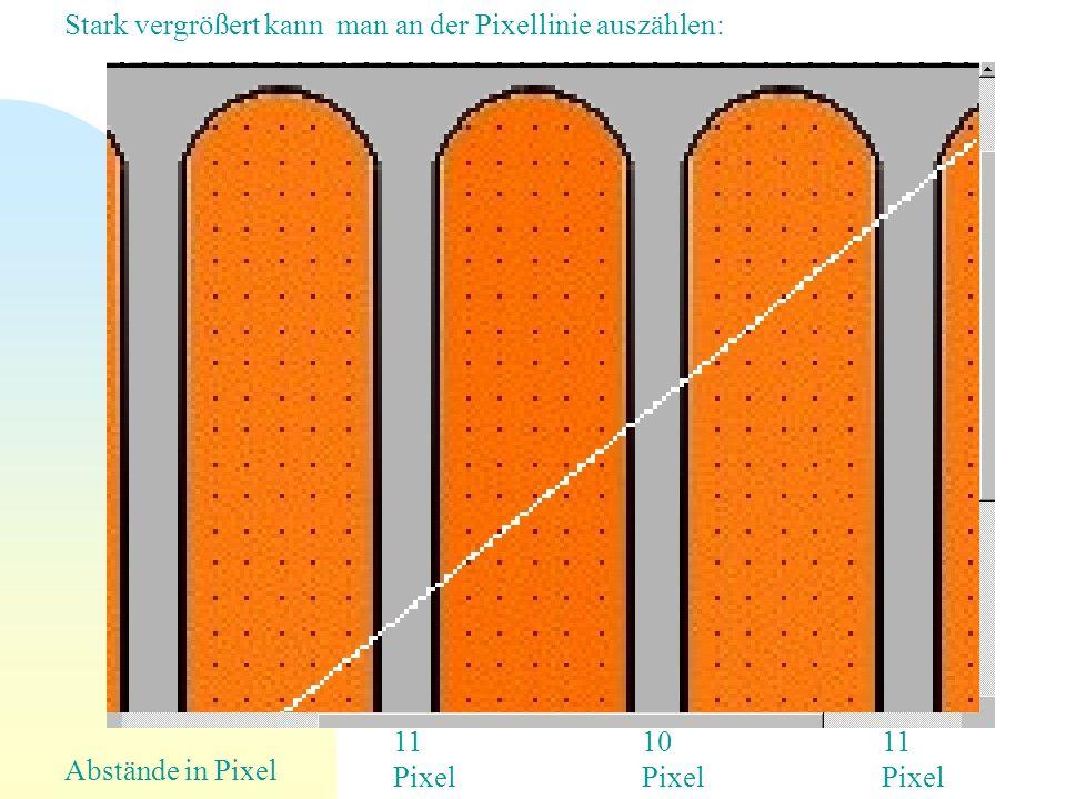 Stark vergrößert kann man an der Pixellinie auszählen: