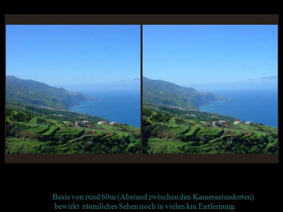 Basis von rund 60m (Abstand zwischen den Kamerastandorten) bewirkt räumliches Sehen noch in vielen km Entfernung.