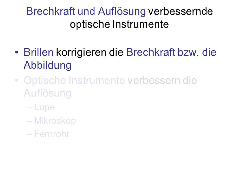 Brechkraft und Auflösung verbessernde optische Instrumente