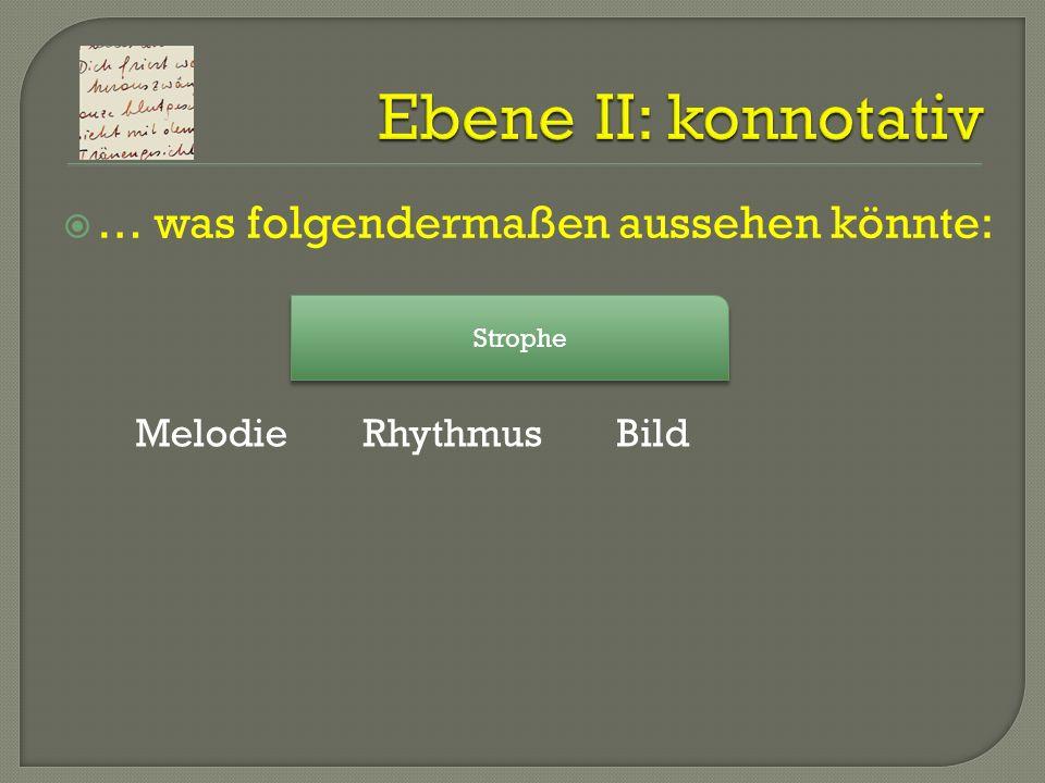 Ebene II: konnotativ … was folgendermaßen aussehen könnte: Melodie