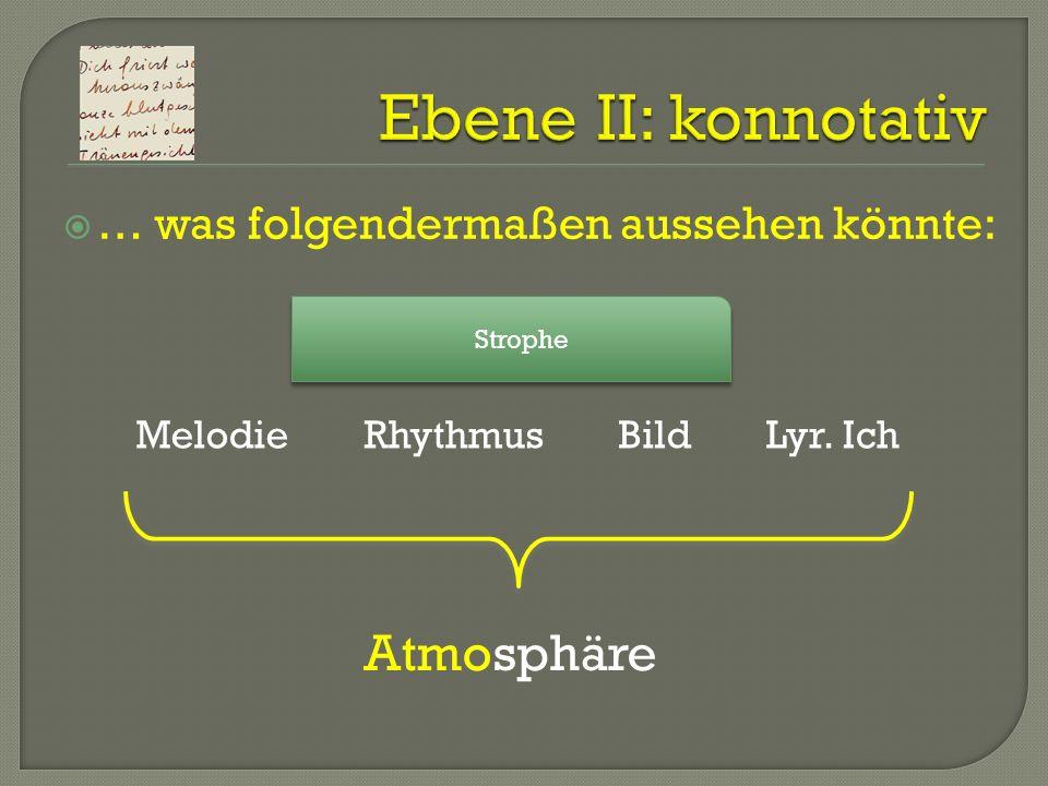 Ebene II: konnotativ Atmosphäre … was folgendermaßen aussehen könnte: