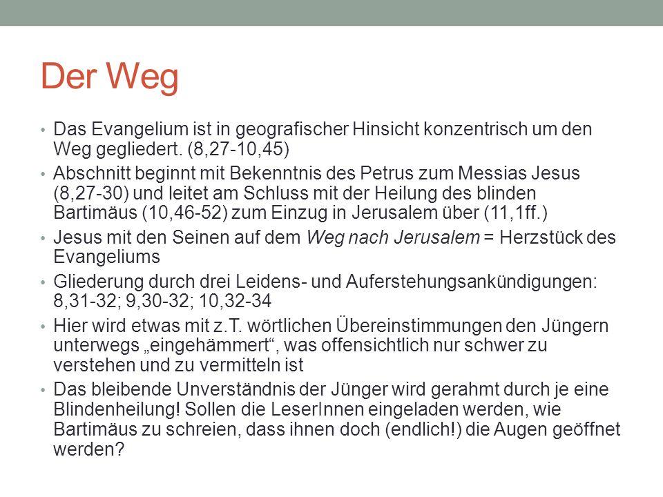 Der Weg Das Evangelium ist in geografischer Hinsicht konzentrisch um den Weg gegliedert. (8,27-10,45)