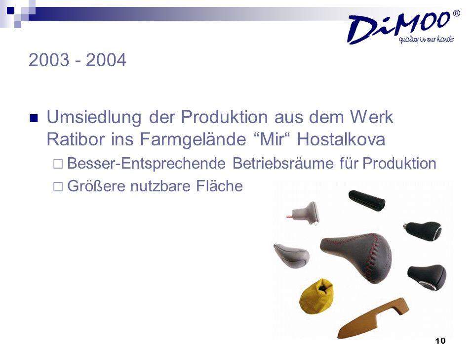 2003 - 2004Umsiedlung der Produktion aus dem Werk Ratibor ins Farmgelände Mir Hostalkova. Besser-Entsprechende Betriebsräume für Produktion.