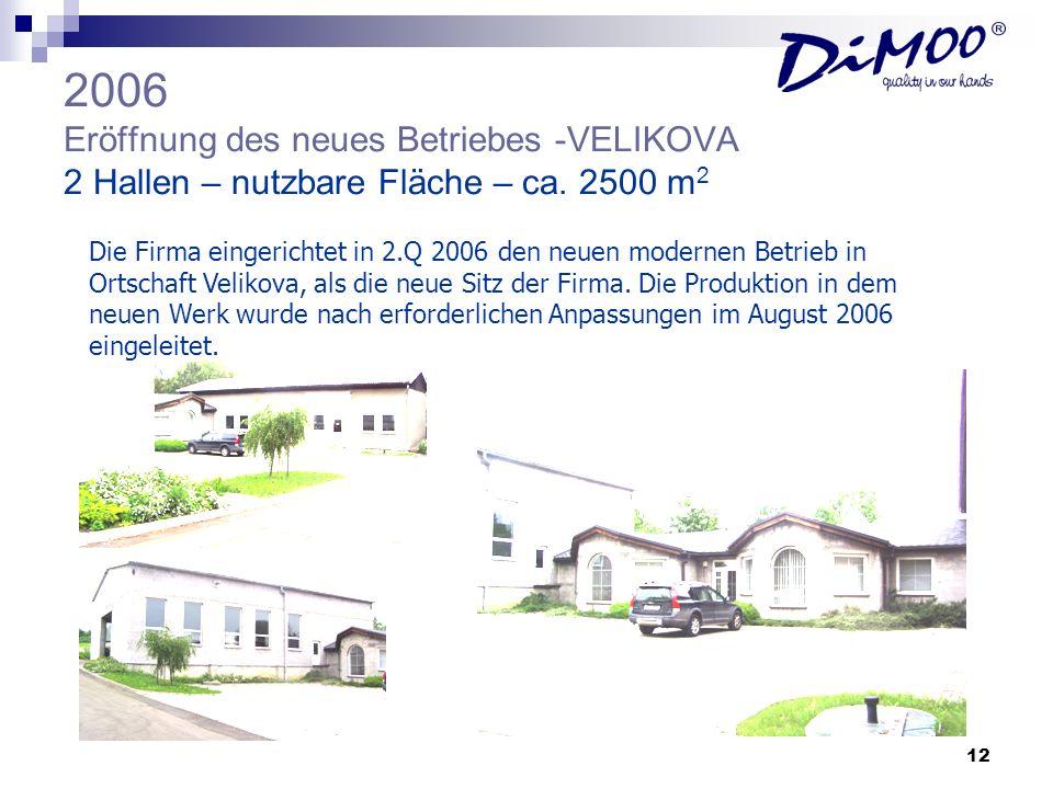 2006 Eröffnung des neues Betriebes -VELIKOVA 2 Hallen – nutzbare Fläche – ca. 2500 m2