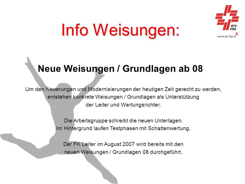 Neue Weisungen / Grundlagen ab 08