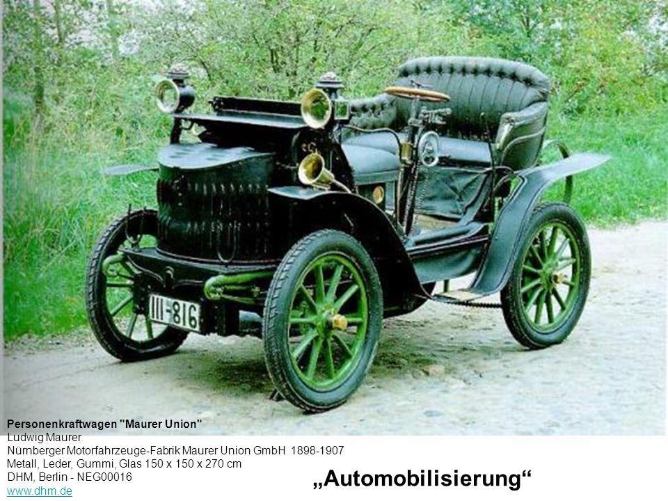 Personenkraftwagen Maurer Union Ludwig Maurer Nürnberger Motorfahrzeuge-Fabrik Maurer Union GmbH 1898-1907 Metall, Leder, Gummi, Glas 150 x 150 x 270 cm DHM, Berlin - NEG00016