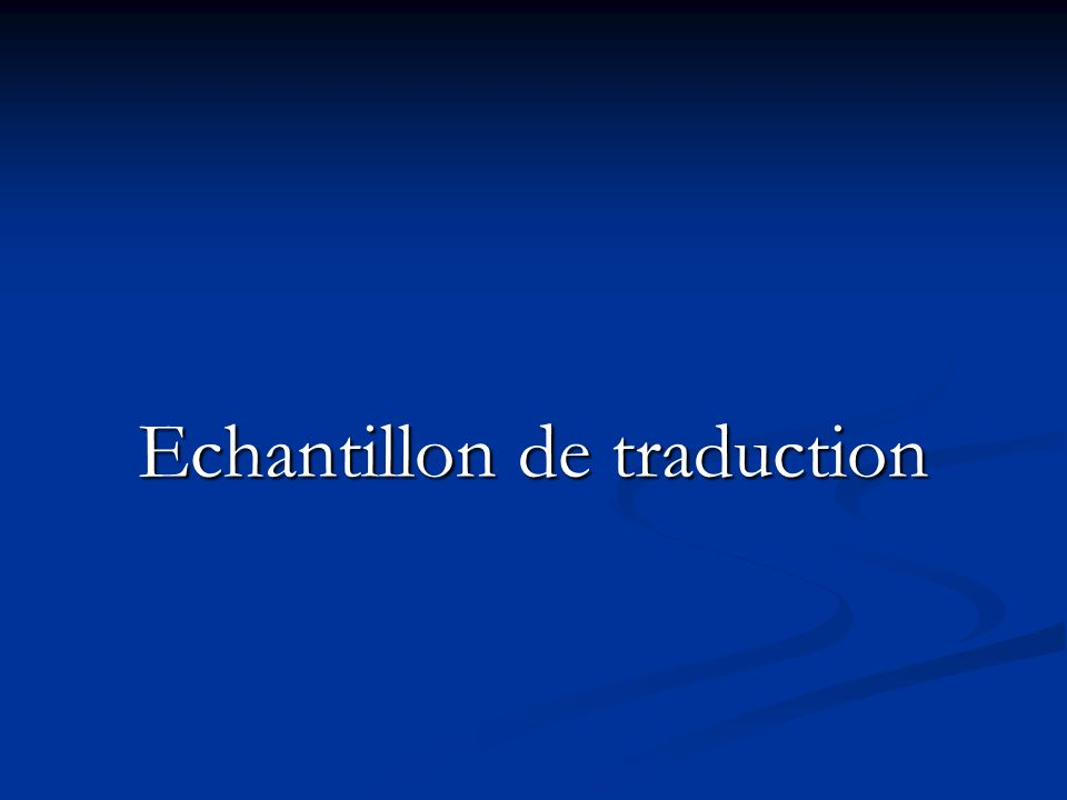 Echantillon de traduction