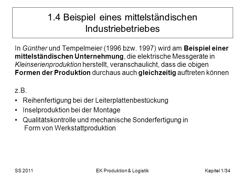 1.4 Beispiel eines mittelständischen Industriebetriebes