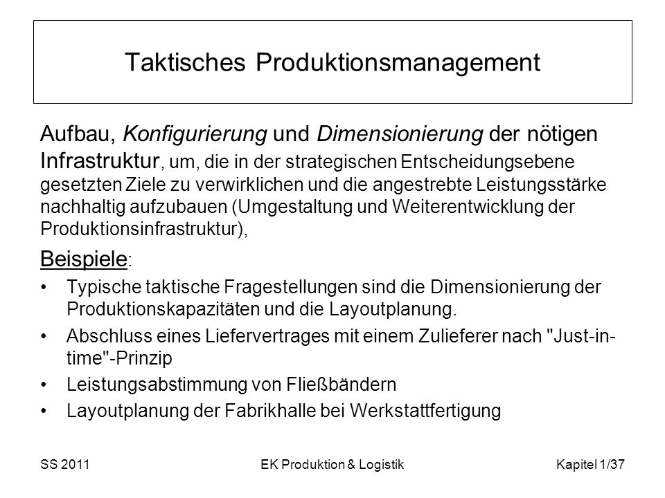 Taktisches Produktionsmanagement