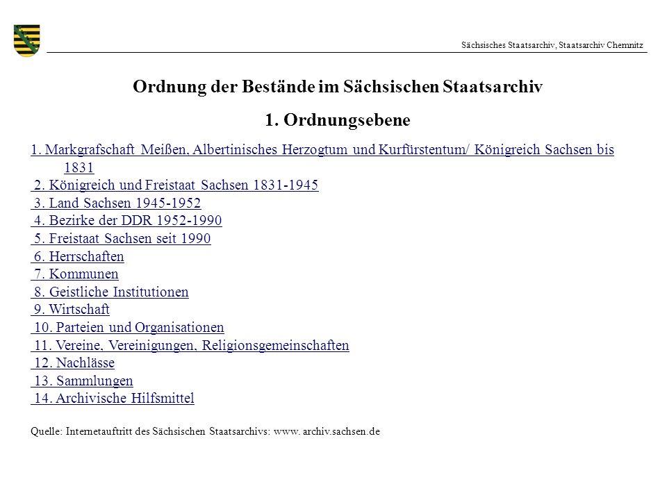 Ordnung der Bestände im Sächsischen Staatsarchiv