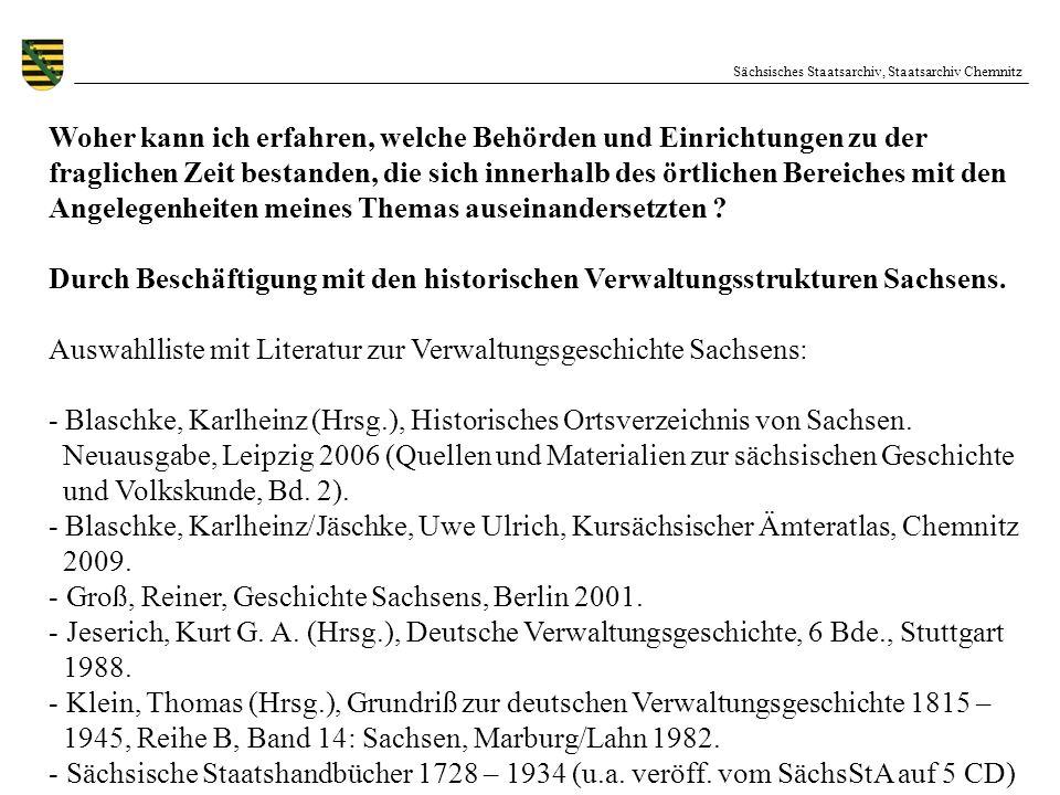 Auswahlliste mit Literatur zur Verwaltungsgeschichte Sachsens: