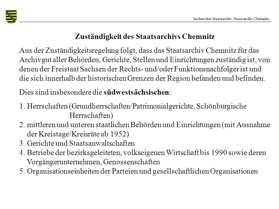Zuständigkeit des Staatsarchivs Chemnitz