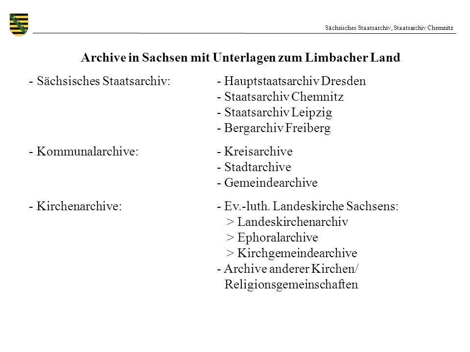 Archive in Sachsen mit Unterlagen zum Limbacher Land