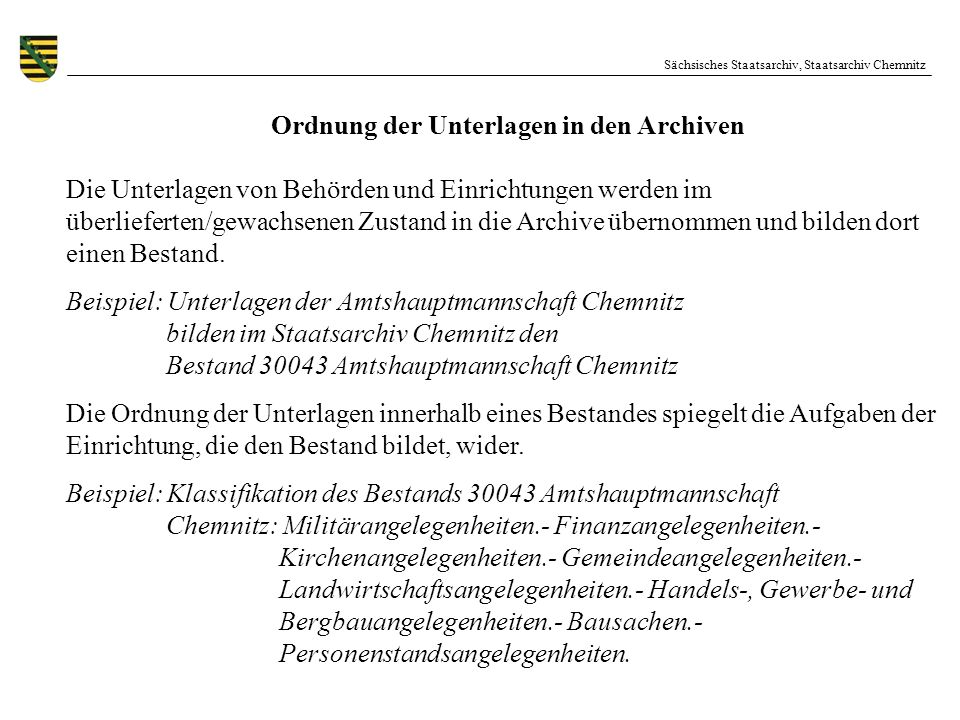 Ordnung der Unterlagen in den Archiven