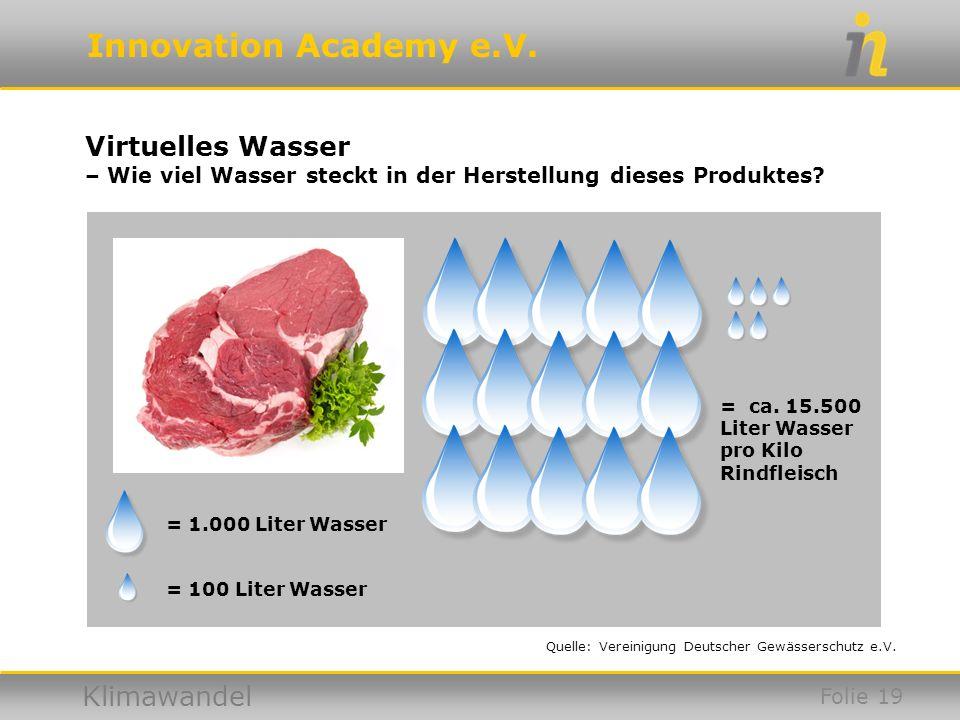 Virtuelles Wasser – Wie viel Wasser steckt in der Herstellung dieses Produktes = ca. 15.500. Liter Wasser pro Kilo Rindfleisch.
