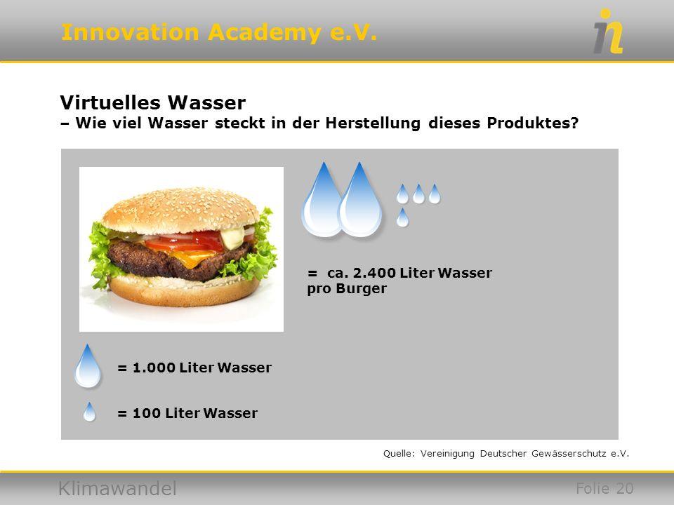 Virtuelles Wasser – Wie viel Wasser steckt in der Herstellung dieses Produktes = ca. 2.400 Liter Wasser pro Burger.