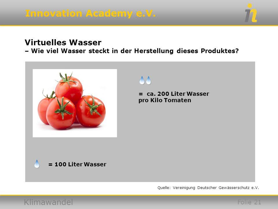 Virtuelles Wasser – Wie viel Wasser steckt in der Herstellung dieses Produktes = ca. 200 Liter Wasser pro Kilo Tomaten.