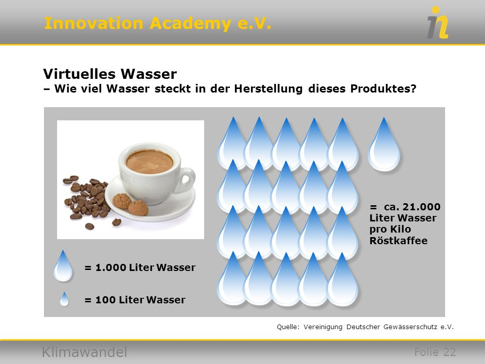 Virtuelles Wasser – Wie viel Wasser steckt in der Herstellung dieses Produktes = ca. 21.000. Liter Wasser pro Kilo Röstkaffee.