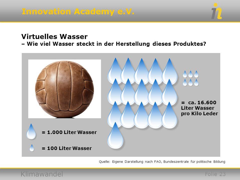 Virtuelles Wasser – Wie viel Wasser steckt in der Herstellung dieses Produktes = ca. 16.600. Liter Wasser pro Kilo Leder.