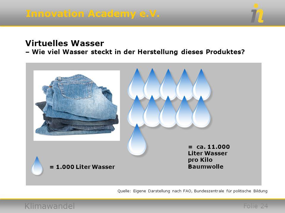 Virtuelles Wasser – Wie viel Wasser steckt in der Herstellung dieses Produktes = ca. 11.000. Liter Wasser pro Kilo Baumwolle.