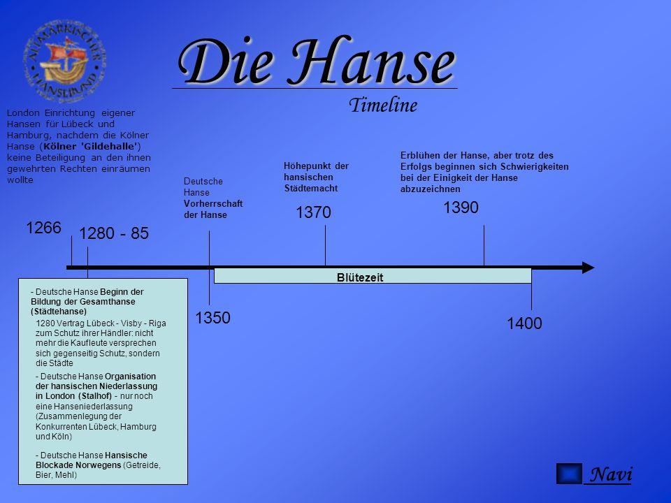 Die Hanse Timeline Navi 1390 1370 1266 1280 - 85 1350 1400 Blütezeit