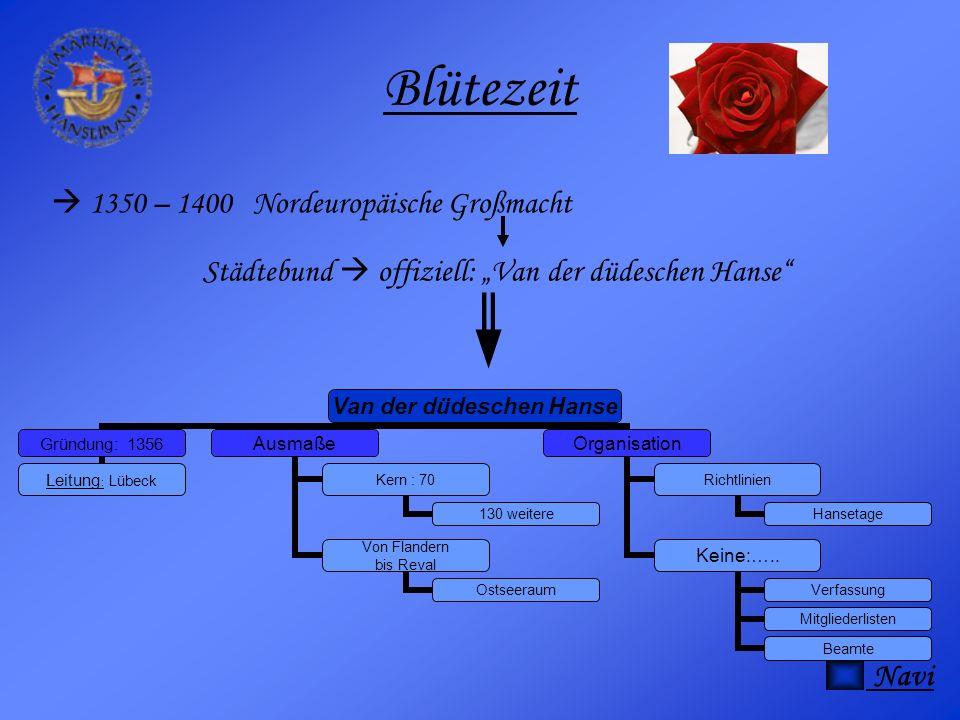 Blütezeit  1350 – 1400 Nordeuropäische Großmacht