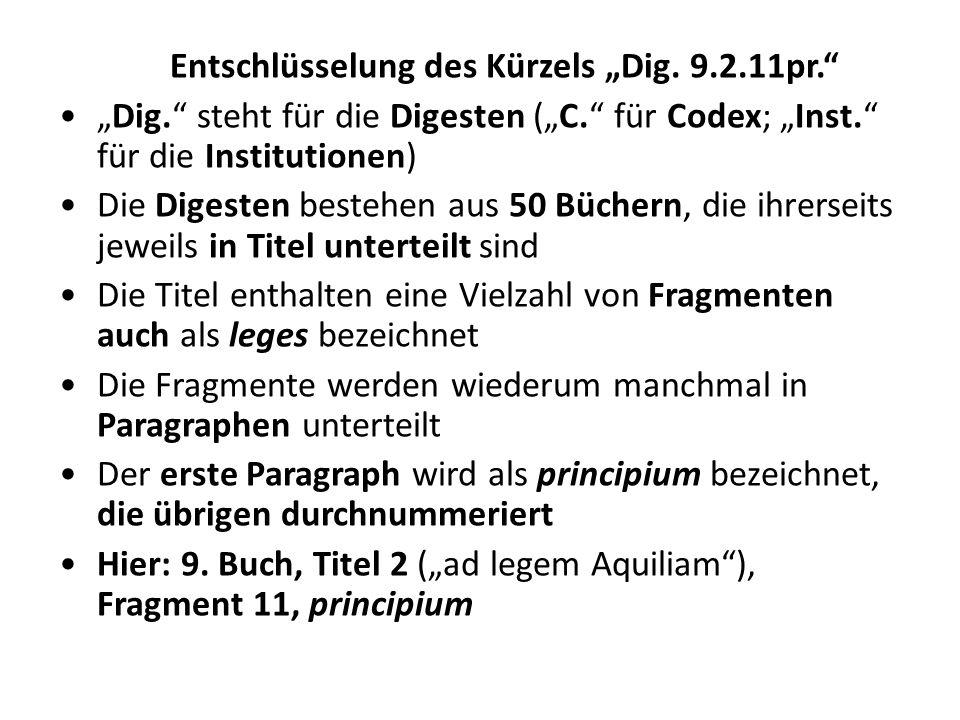 """Entschlüsselung des Kürzels """"Dig. 9.2.11pr."""