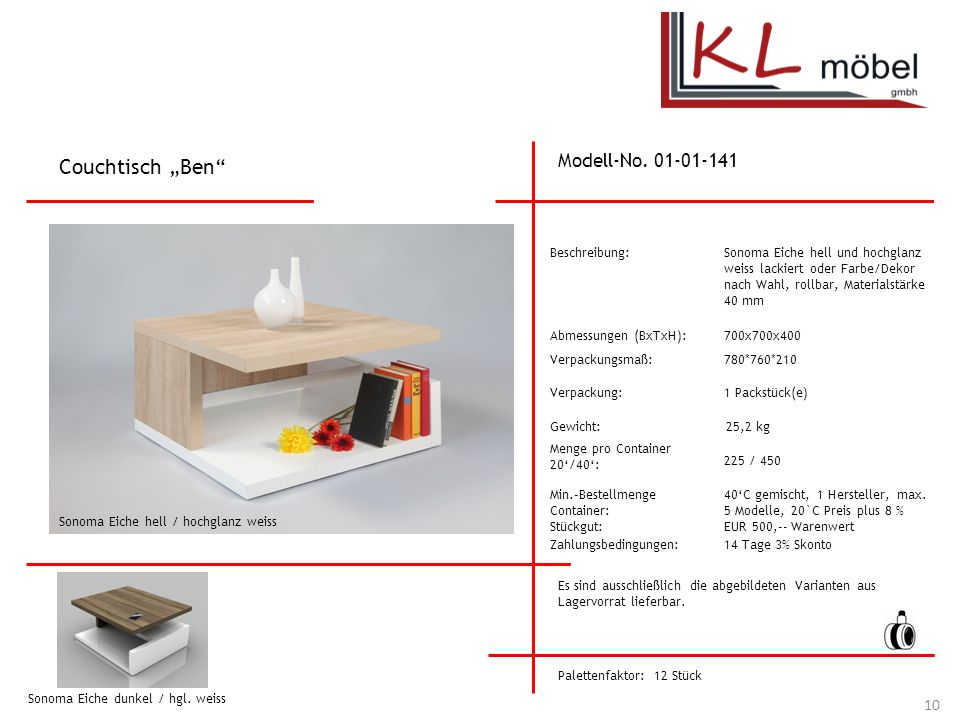 "Couchtisch ""Ben Modell-No. 01-01-141 Beschreibung:"