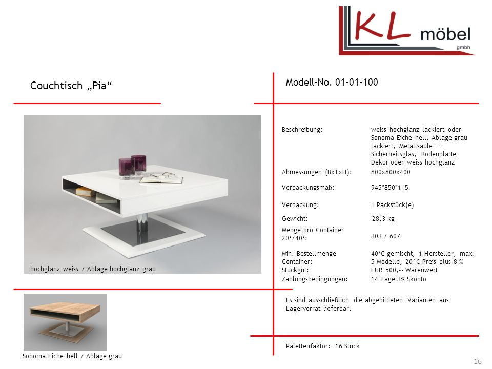 """Couchtisch """"Pia Modell-No. 01-01-100 Beschreibung:"""
