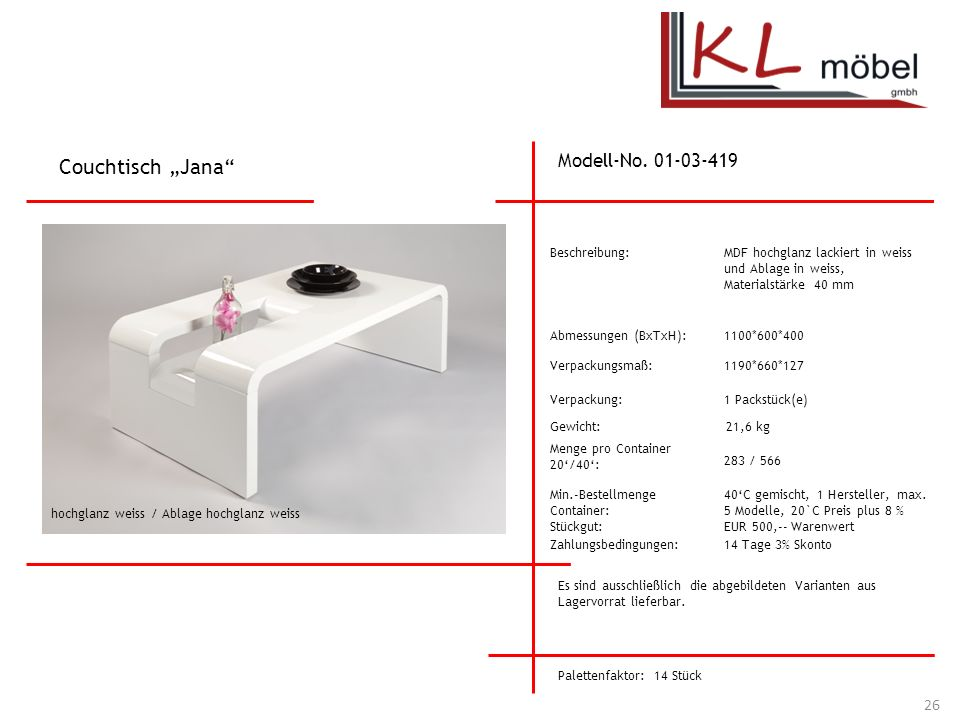 "Couchtisch ""Jana Modell-No. 01-03-419 Beschreibung:"