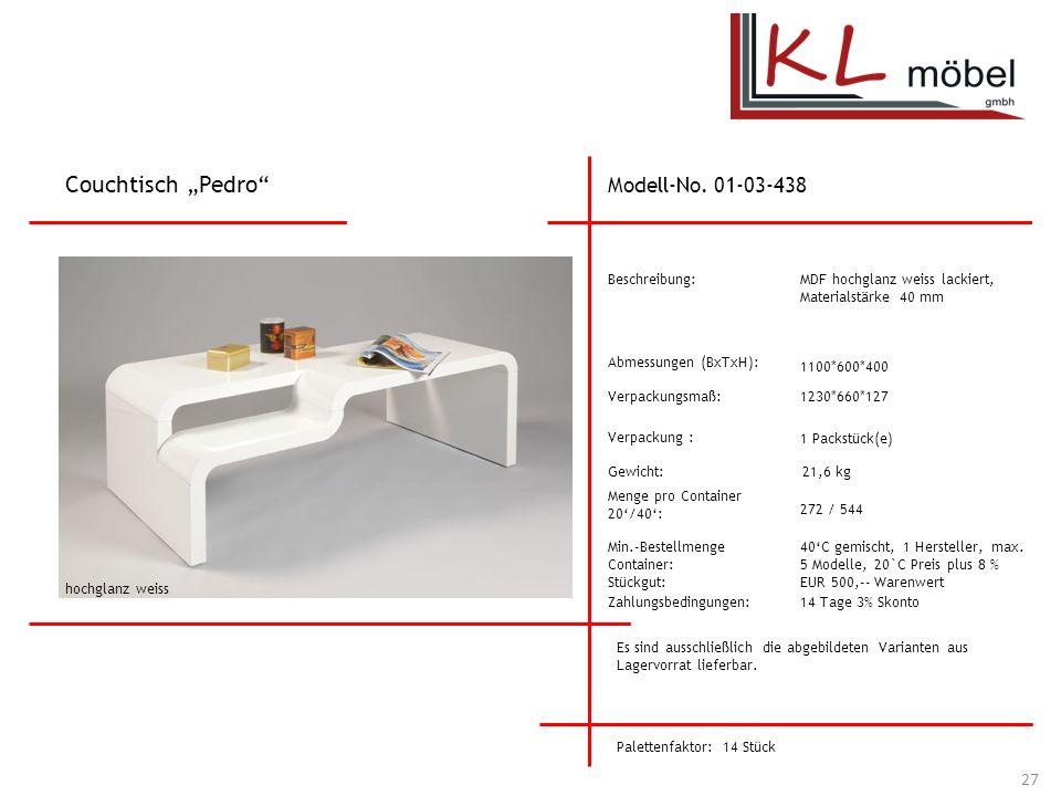 """Couchtisch """"Pedro Modell-No. 01-03-438 Beschreibung:"""