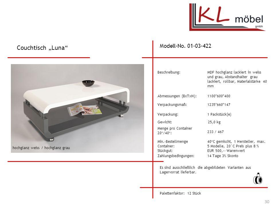 """Couchtisch """"Luna Modell-No. 01-03-422 Beschreibung:"""