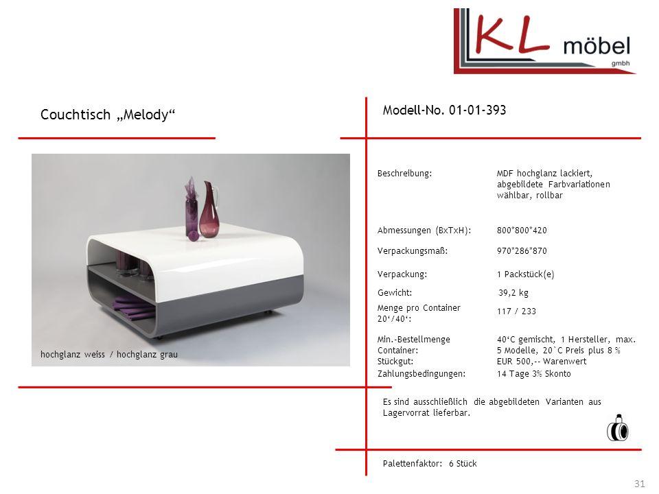 """Couchtisch """"Melody Modell-No. 01-01-393 Beschreibung:"""