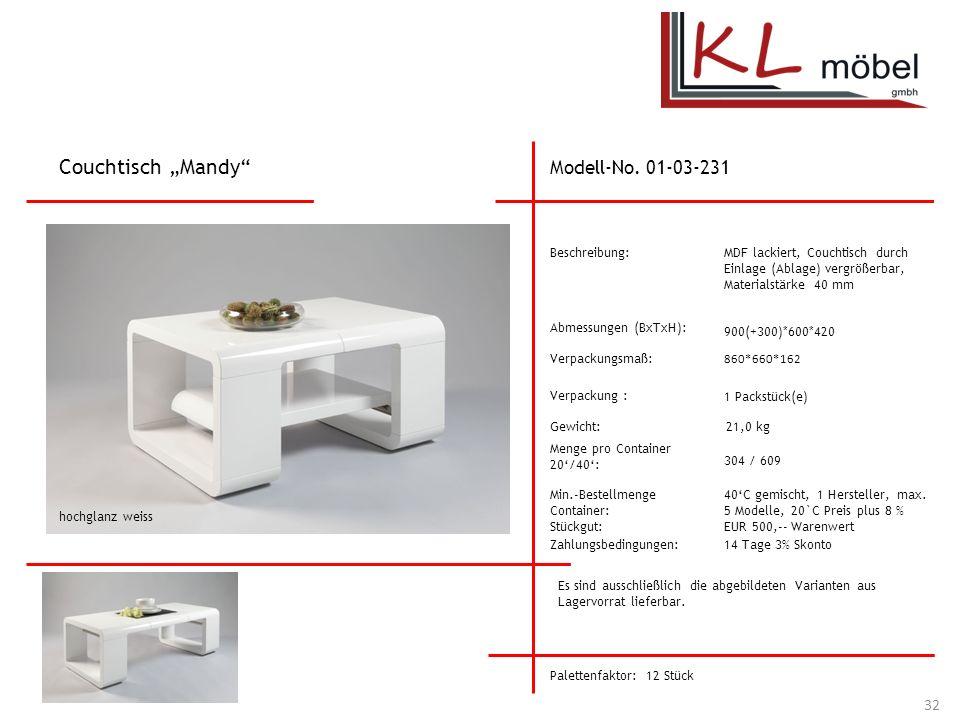 "Couchtisch ""Mandy Modell-No. 01-03-231 Beschreibung:"