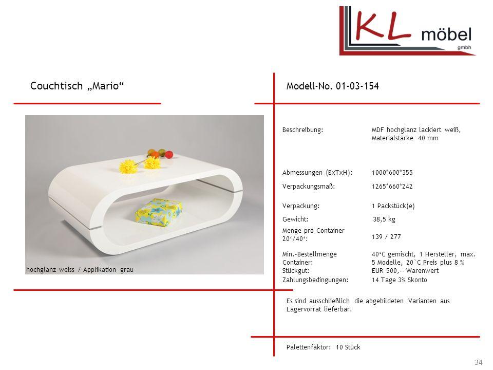 """Couchtisch """"Mario Modell-No. 01-03-154 Beschreibung:"""