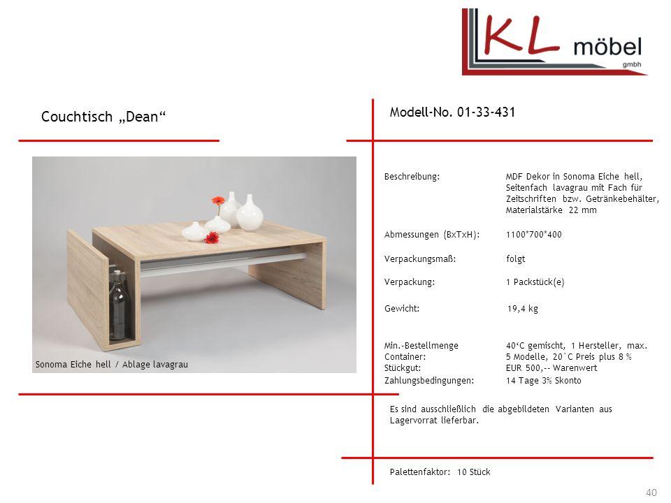 "Couchtisch ""Dean Modell-No. 01-33-431 Beschreibung:"