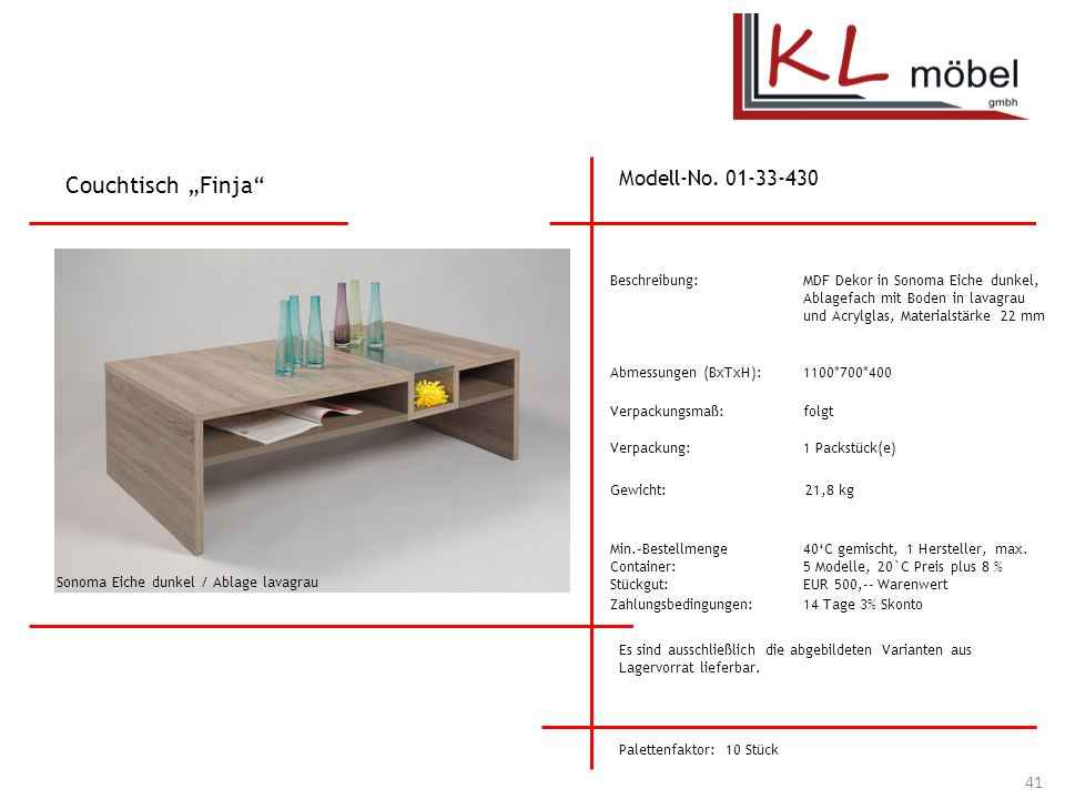 "Couchtisch ""Finja Modell-No. 01-33-430 Beschreibung:"