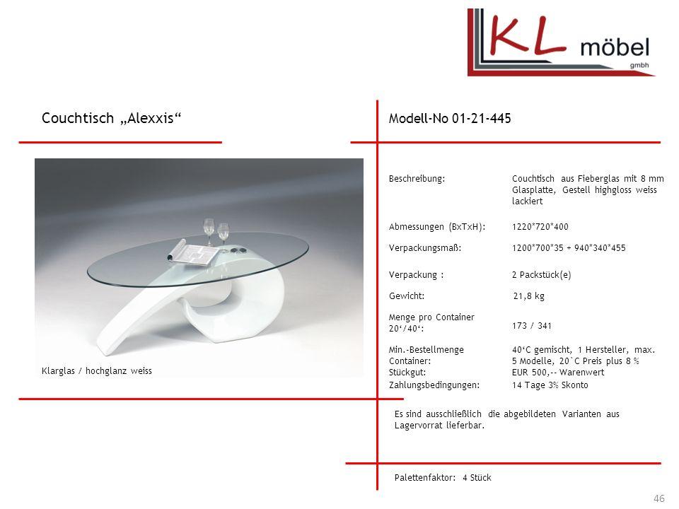 """Couchtisch """"Alexxis Modell-No 01-21-445 Beschreibung:"""