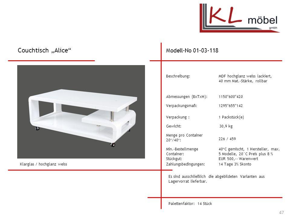 """Couchtisch """"Alice Modell-No 01-03-118 Beschreibung:"""