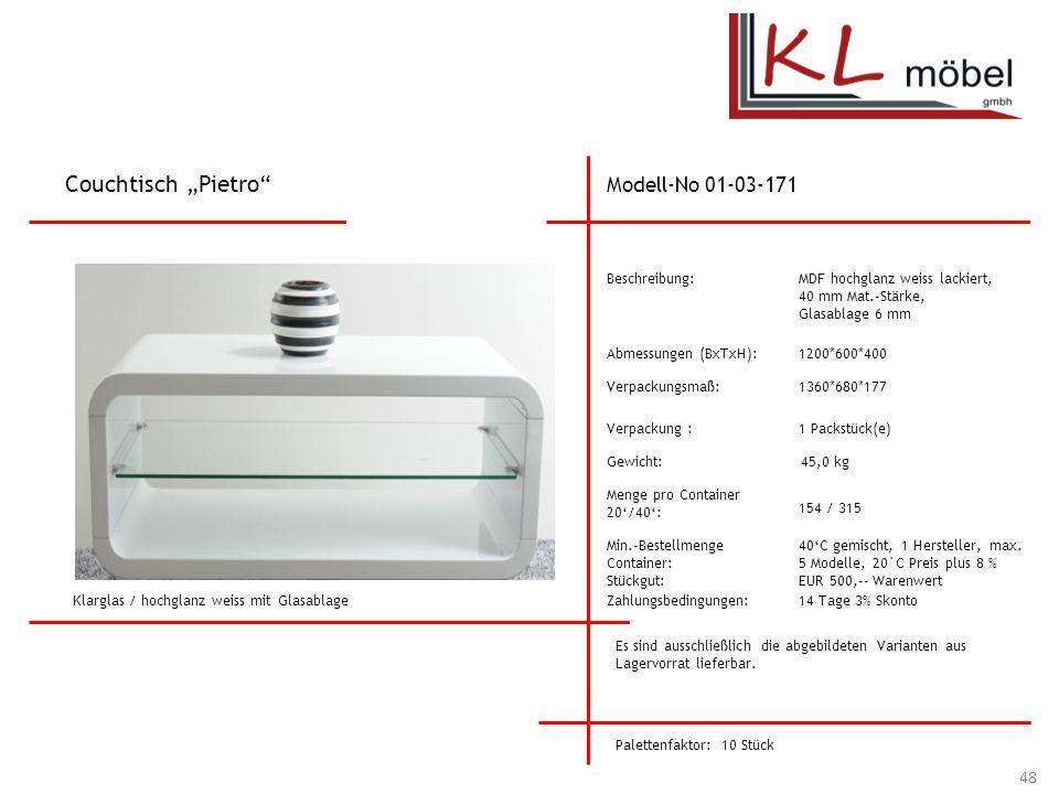 """Couchtisch """"Pietro Modell-No 01-03-171 Beschreibung:"""
