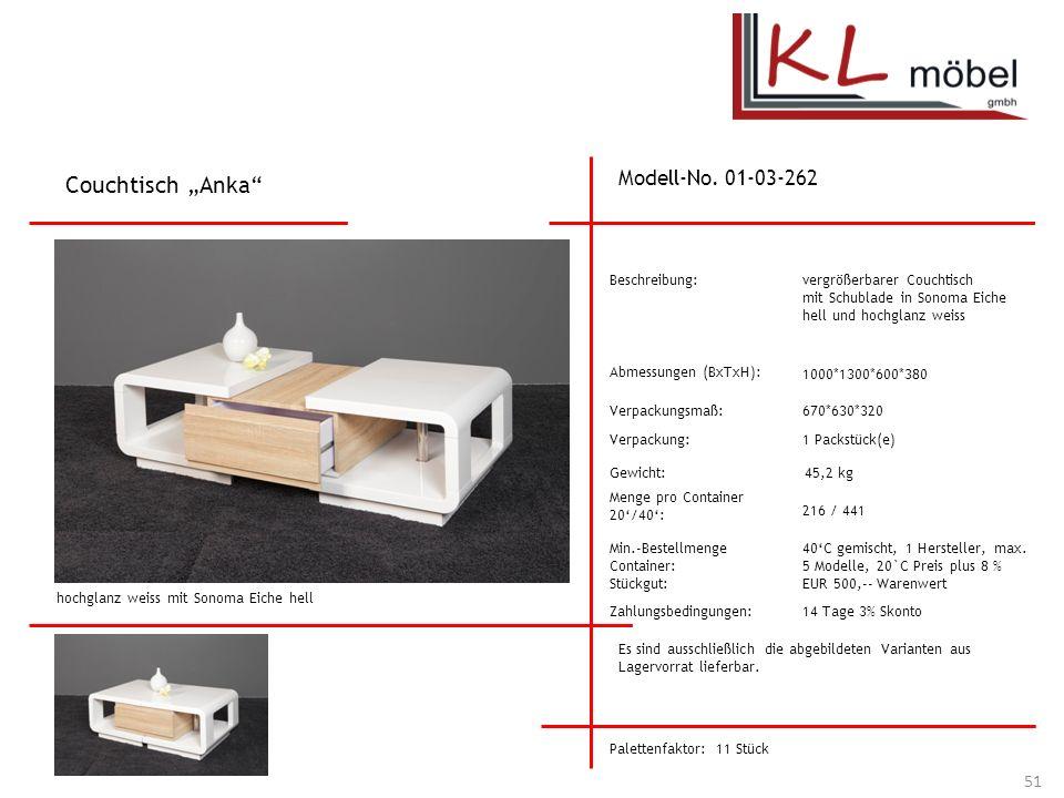 """Couchtisch """"Anka Modell-No. 01-03-262 Beschreibung:"""