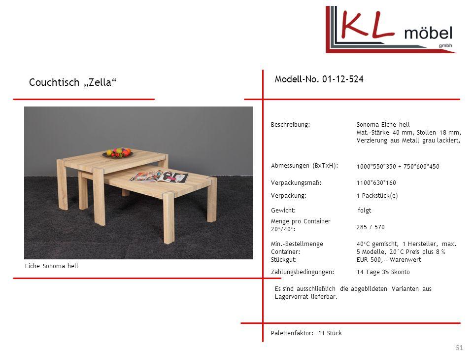 """Couchtisch """"Zella Modell-No. 01-12-524 Beschreibung:"""