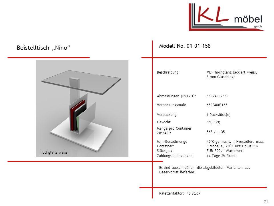 """Beistelltisch """"Nino Modell-No. 01-01-158 Beschreibung:"""