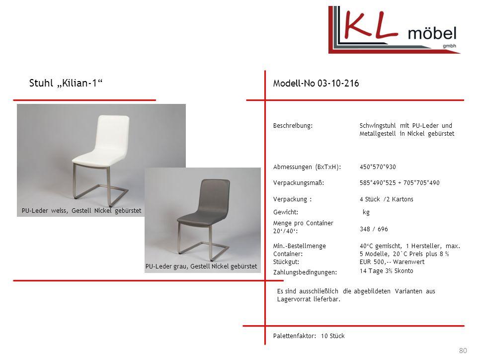 """Stuhl """"Kilian-1 Modell-No 03-10-216 Beschreibung:"""