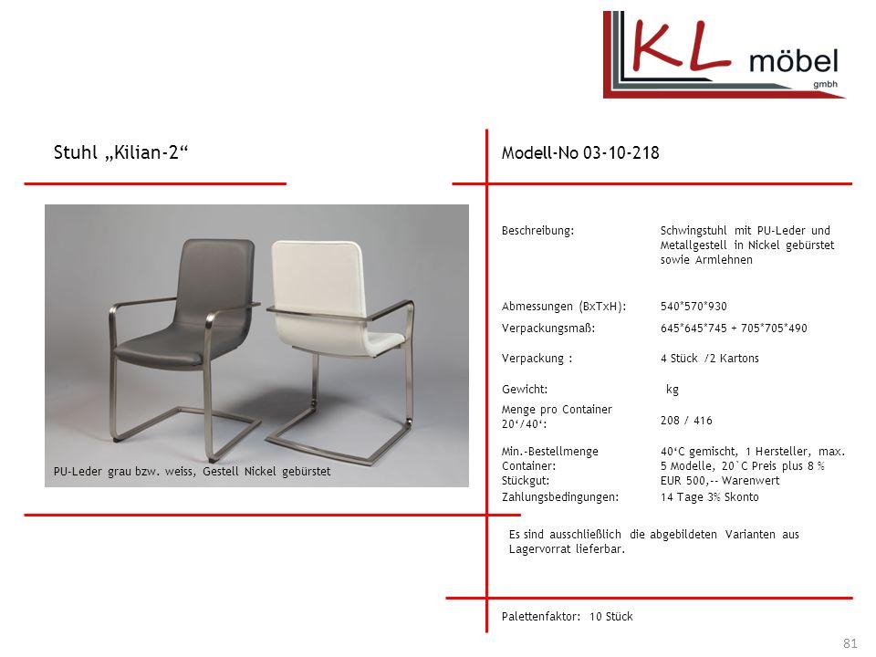 """Stuhl """"Kilian-2 Modell-No 03-10-218 Beschreibung:"""