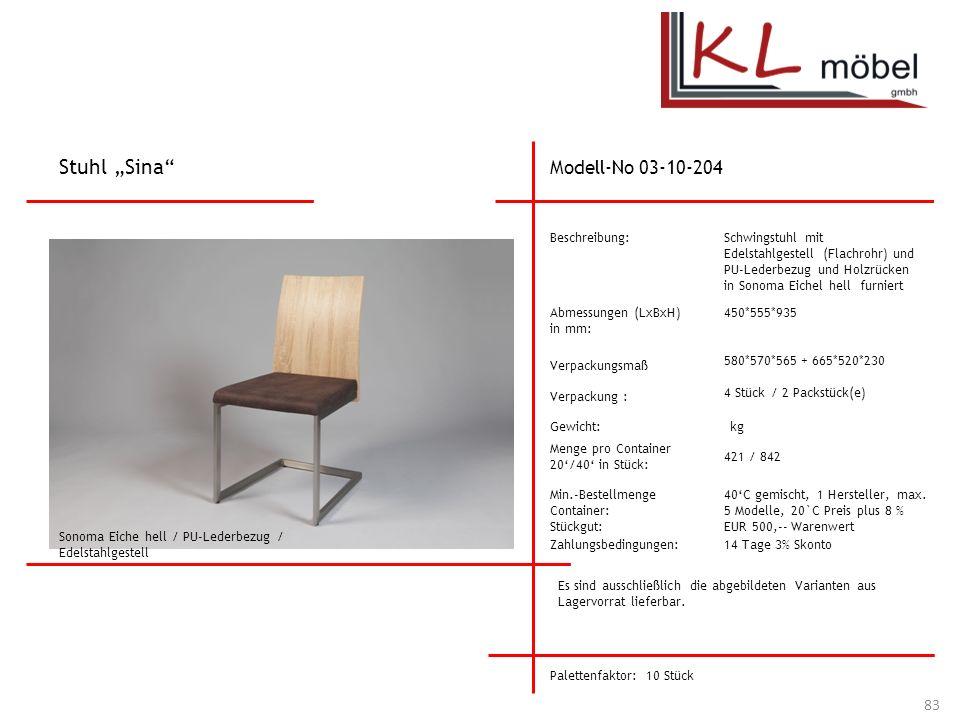 """Stuhl """"Sina Modell-No 03-10-204 Beschreibung:"""