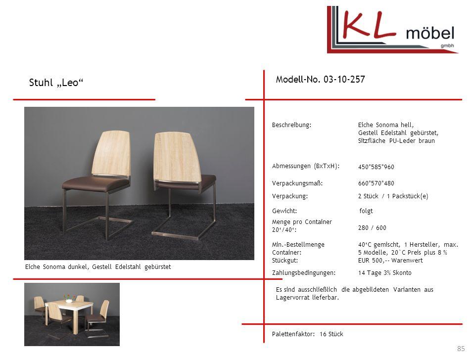 """Stuhl """"Leo Modell-No. 03-10-257 Beschreibung: Eiche Sonoma hell,"""