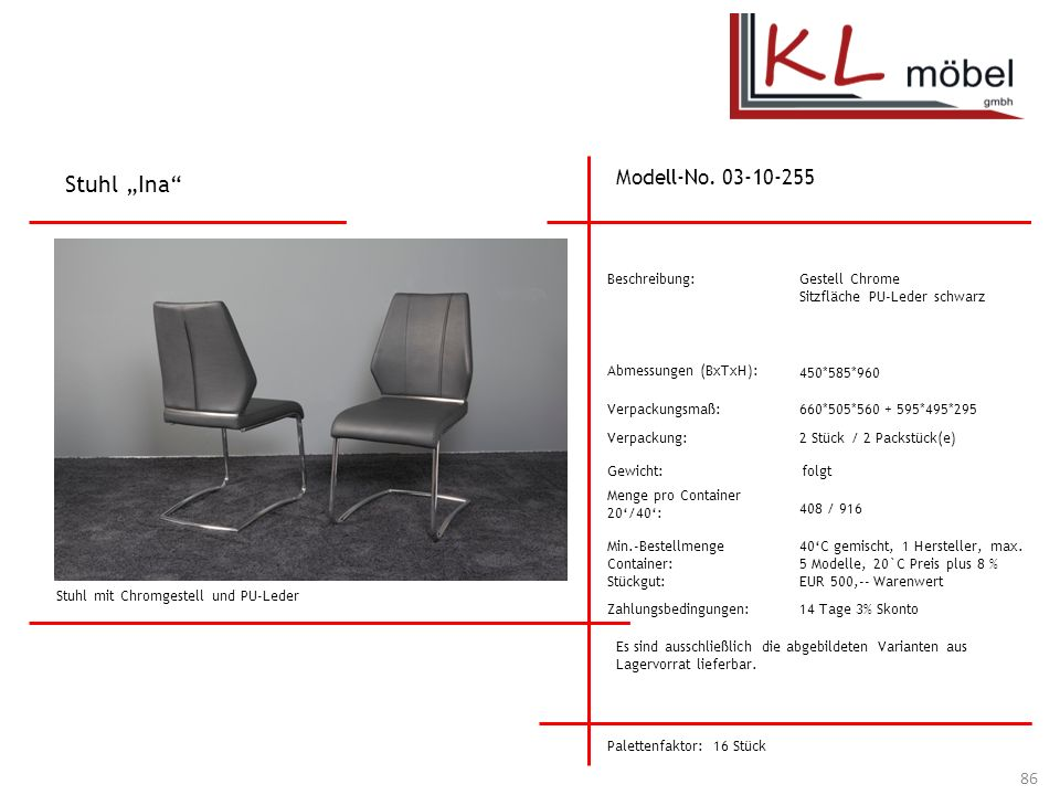 """Stuhl """"Ina Modell-No. 03-10-255 Beschreibung: Gestell Chrome"""