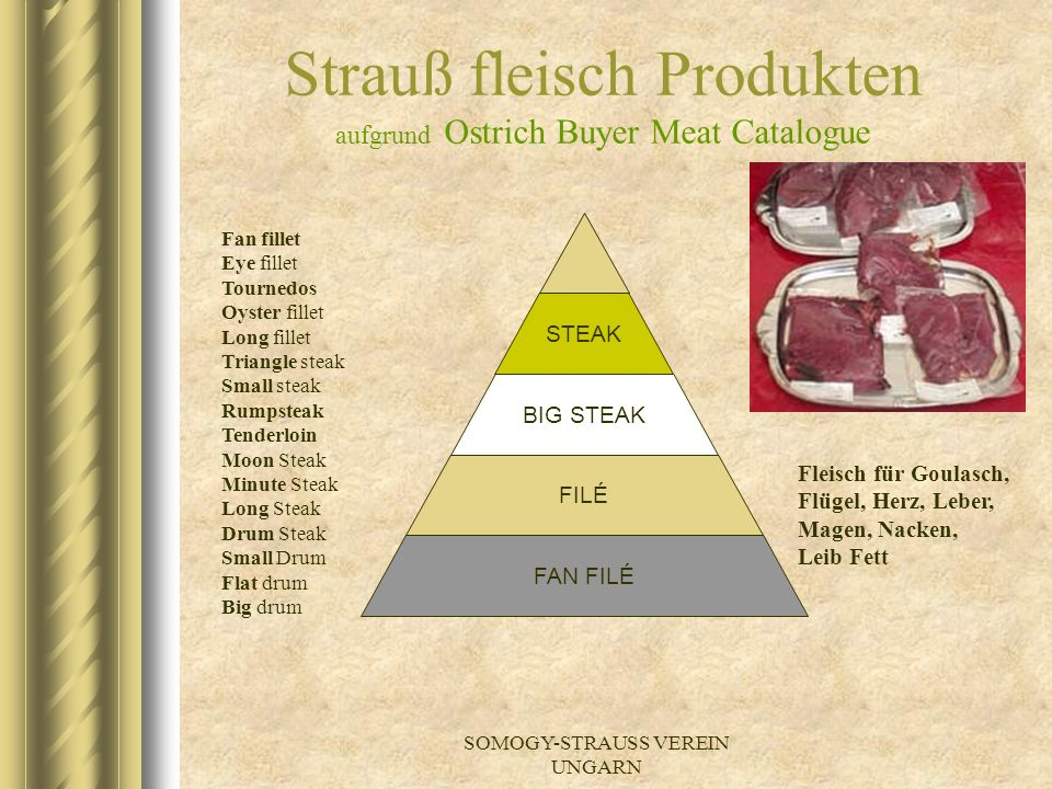 Strauß fleisch Produkten aufgrund Ostrich Buyer Meat Catalogue